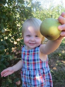 Clara with an apple