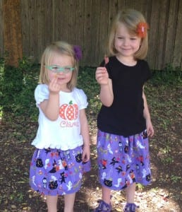 halloween skirts, easy sewing projects, easy skirts to sew